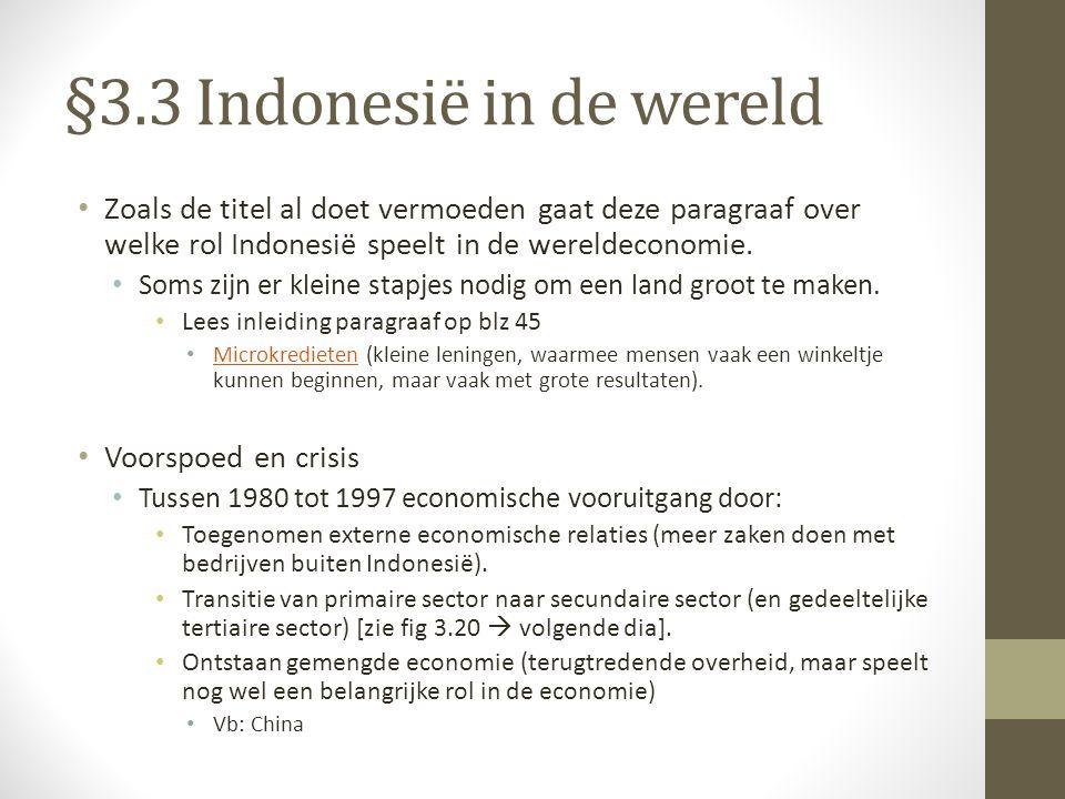 §3.3 Indonesië in de wereld Zoals de titel al doet vermoeden gaat deze paragraaf over welke rol Indonesië speelt in de wereldeconomie. Soms zijn er kl
