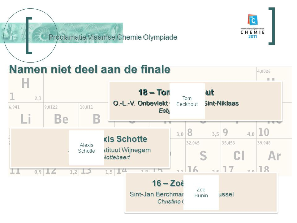 Proclamatie Vlaamse Chemie Olympiade 18 – Tom Eeckhout O.-L.-V.