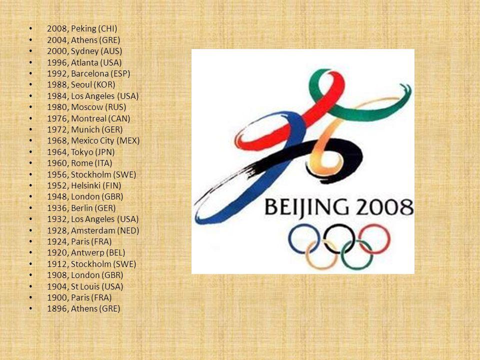 2008, Peking (CHI) 2004, Athens (GRE) 2000, Sydney (AUS) 1996, Atlanta (USA) 1992, Barcelona (ESP) 1988, Seoul (KOR) 1984, Los Angeles (USA) 1980, Mos