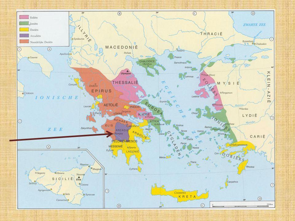 3) De oude Olympische Spelen heilige plaatsje Olympia in Elis heiligdom voor Zeus vanaf 1000 v.C.