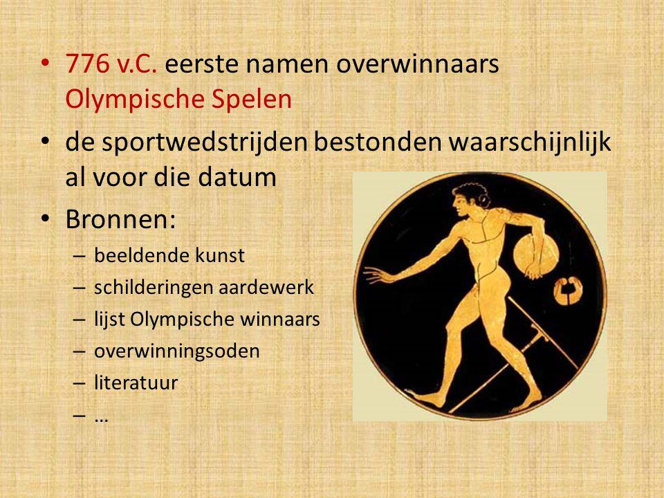 776 v.C. eerste namen overwinnaars Olympische Spelen de sportwedstrijden bestonden waarschijnlijk al voor die datum Bronnen: – beeldende kunst – schil