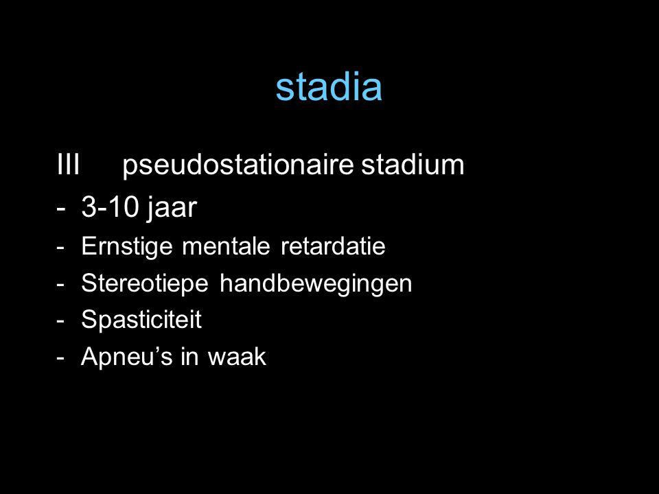 stadia III pseudostationaire stadium -3-10 jaar -Ernstige mentale retardatie -Stereotiepe handbewegingen -Spasticiteit -Apneu's in waak