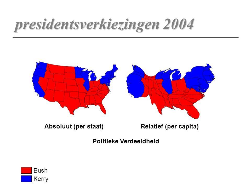 presidentsverkiezingen 2004 Absoluut (per staat)Relatief (per capita) Politieke Verdeeldheid Bush Kerry