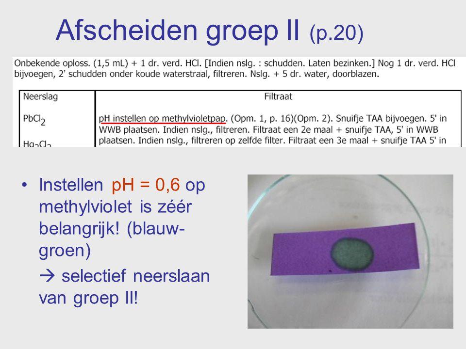 Afscheiden groep II (p.20) Instellen pH = 0,6 op methylviolet is zéér belangrijk! (blauw- groen)  selectief neerslaan van groep II!