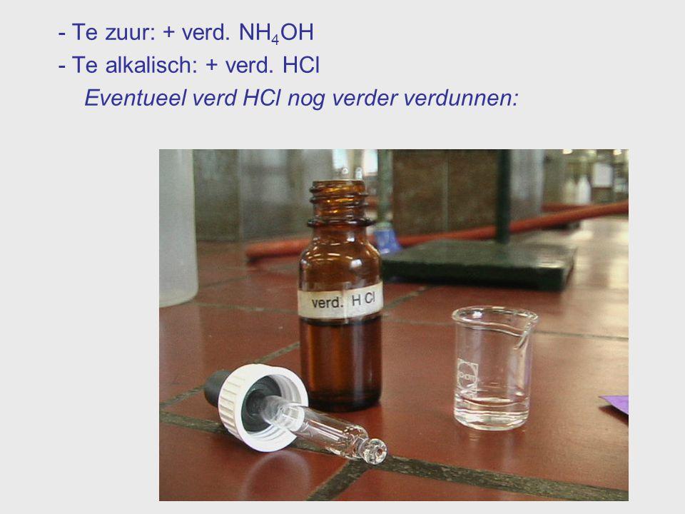 - Te zuur: + verd. NH 4 OH - Te alkalisch: + verd. HCl Eventueel verd HCl nog verder verdunnen: