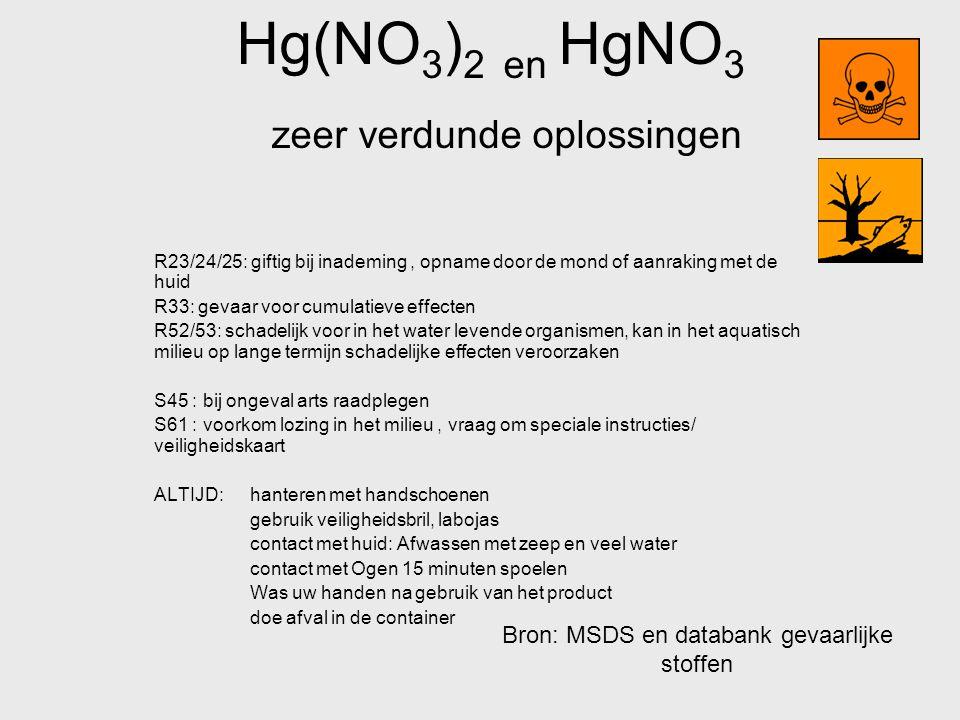 Hg(NO 3 ) 2 en HgNO 3 zeer verdunde oplossingen R23/24/25: giftig bij inademing, opname door de mond of aanraking met de huid R33: gevaar voor cumulat