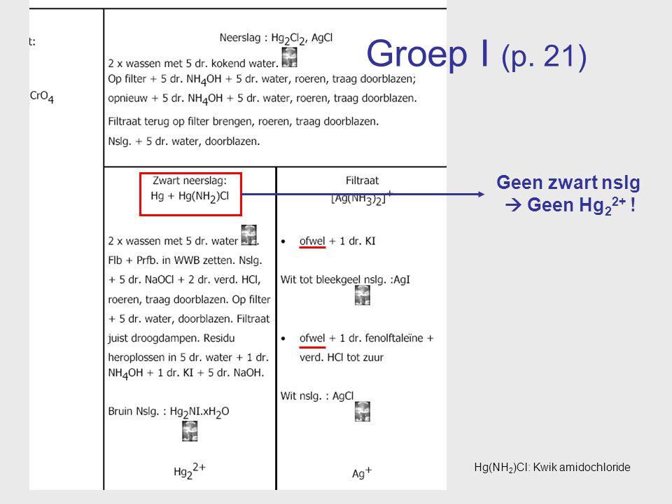 Groep I (p. 21) Geen zwart nslg  Geen Hg 2 2+ ! Hg(NH 2 )Cl: Kwik amidochloride