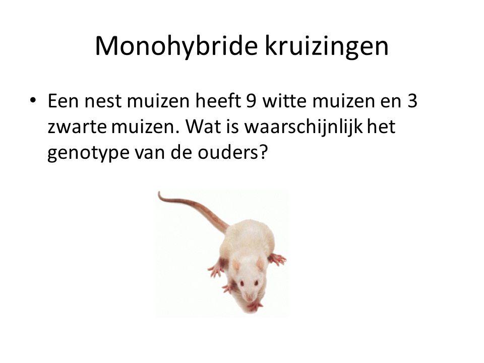 Monohybride kruizingen Een nest muizen heeft 9 witte muizen en 3 zwarte muizen. Wat is waarschijnlijk het genotype van de ouders?