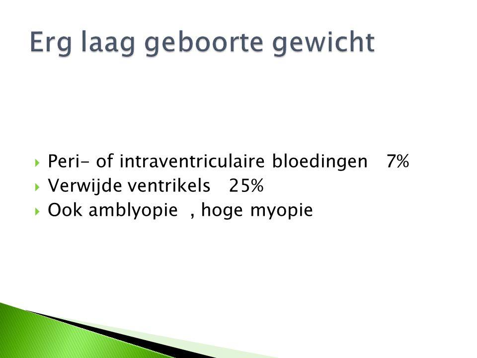  Peri- of intraventriculaire bloedingen 7%  Verwijde ventrikels 25%  Ook amblyopie, hoge myopie