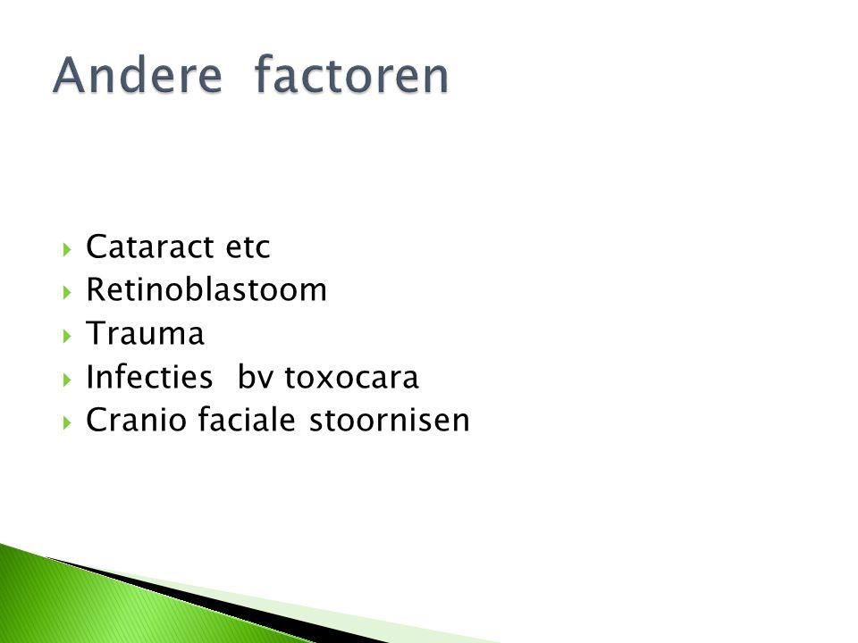  Cataract etc  Retinoblastoom  Trauma  Infecties bv toxocara  Cranio faciale stoornisen