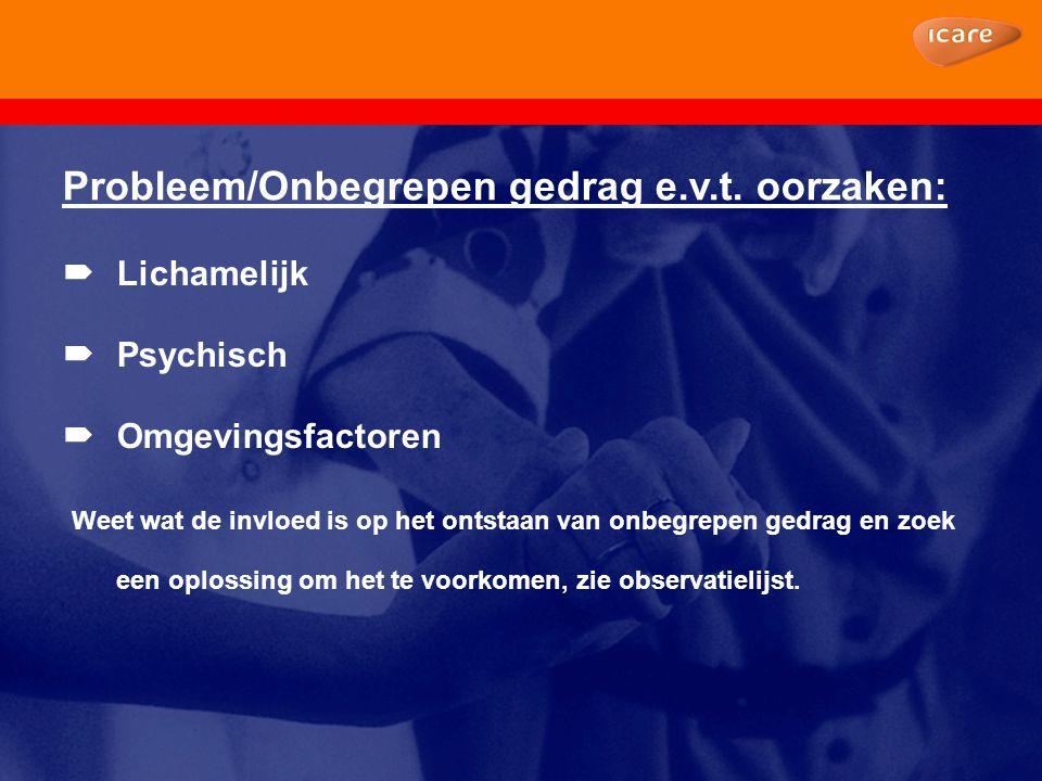 Probleem/Onbegrepen gedrag e.v.t. oorzaken:  Lichamelijk  Psychisch  Omgevingsfactoren Weet wat de invloed is op het ontstaan van onbegrepen gedrag
