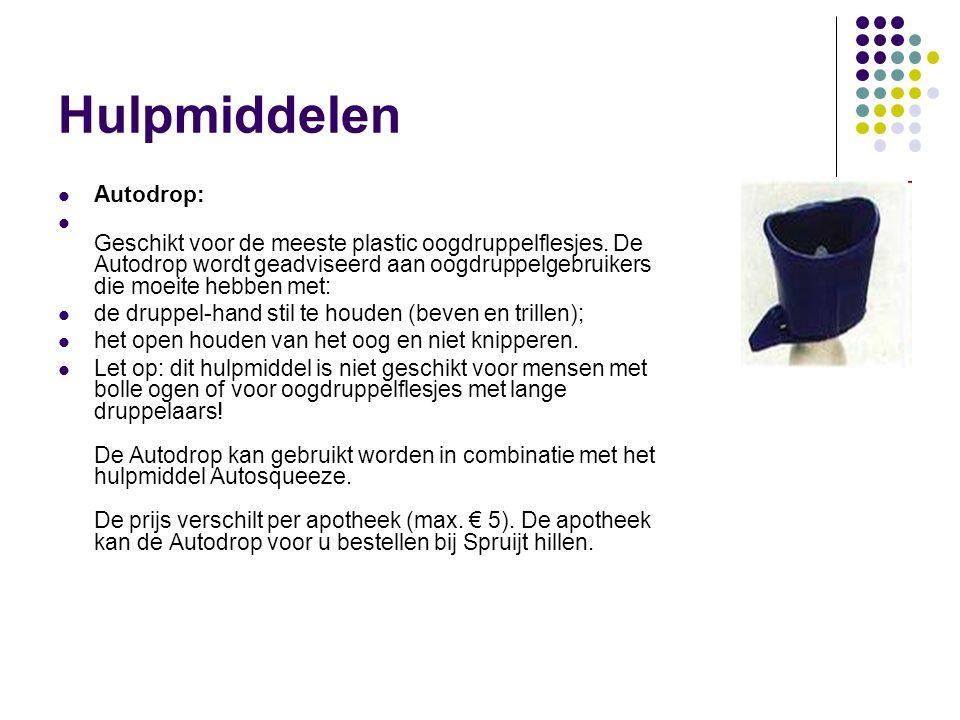 Hulpmiddelen Autodrop: Geschikt voor de meeste plastic oogdruppelflesjes. De Autodrop wordt geadviseerd aan oogdruppelgebruikers die moeite hebben met