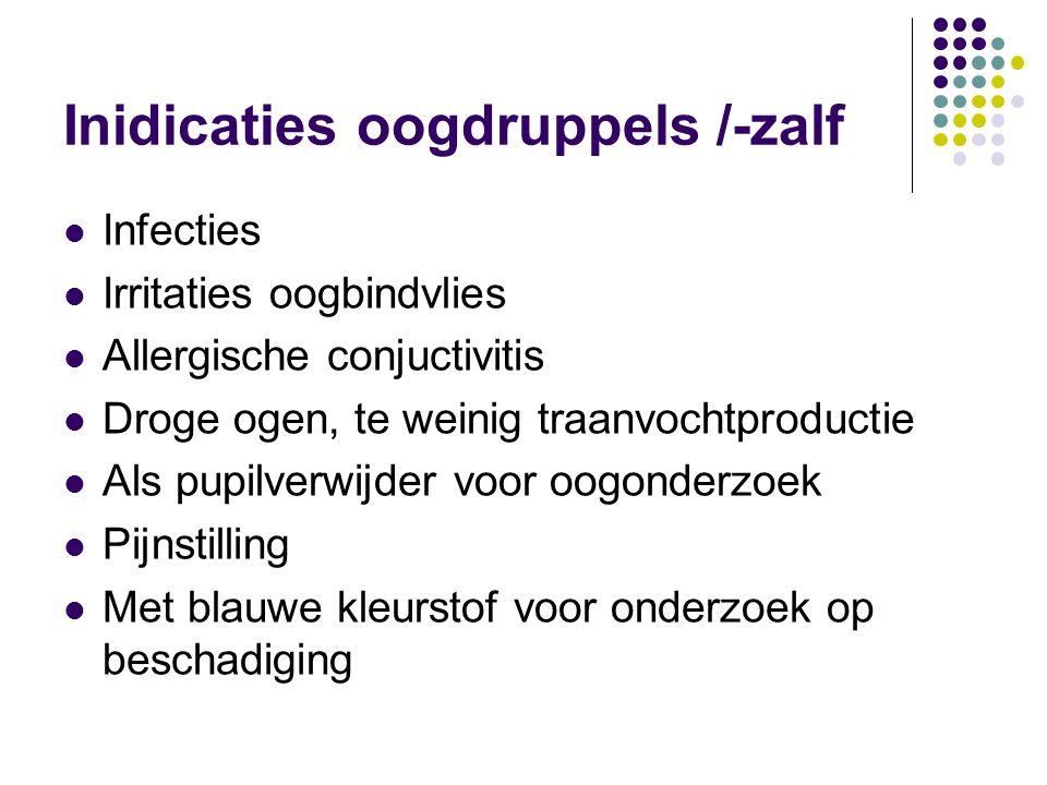 Inidicaties oogdruppels /-zalf Infecties Irritaties oogbindvlies Allergische conjuctivitis Droge ogen, te weinig traanvochtproductie Als pupilverwijde
