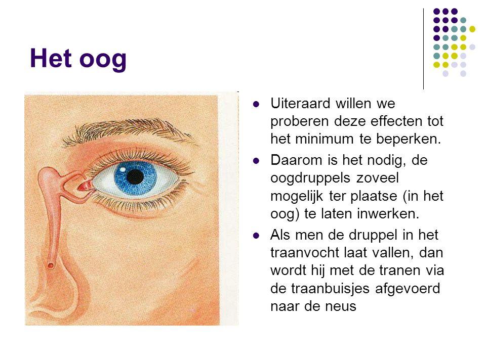 Het oog Uiteraard willen we proberen deze effecten tot het minimum te beperken. Daarom is het nodig, de oogdruppels zoveel mogelijk ter plaatse (in he