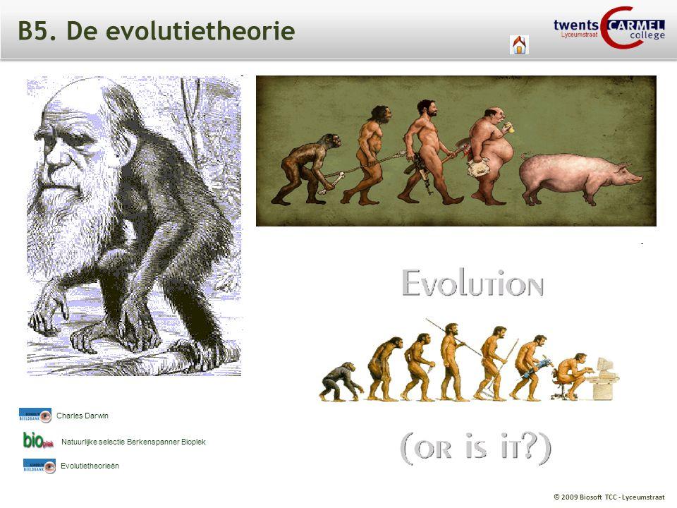 © 2009 Biosoft TCC - Lyceumstraat B5. De evolutietheorie Natuurlijke selectie Berkenspanner Bioplek Charles Darwin Evolutietheorieën