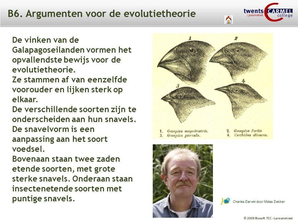 © 2009 Biosoft TCC - Lyceumstraat B6. Argumenten voor de evolutietheorie Charles Darwin door Midas Dekker De vinken van de Galapagoseilanden vormen he