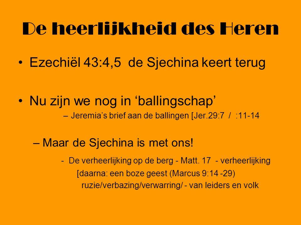 De heerlijkheid des Heren Ezechiël 43:4,5 de Sjechina keert terug Nu zijn we nog in 'ballingschap' –Jeremia's brief aan de ballingen [Jer.29:7 / :11-1