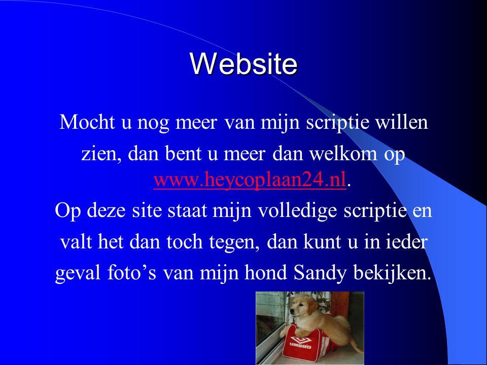 Website Mocht u nog meer van mijn scriptie willen zien, dan bent u meer dan welkom op www.heycoplaan24.nl. www.heycoplaan24.nl Op deze site staat mijn