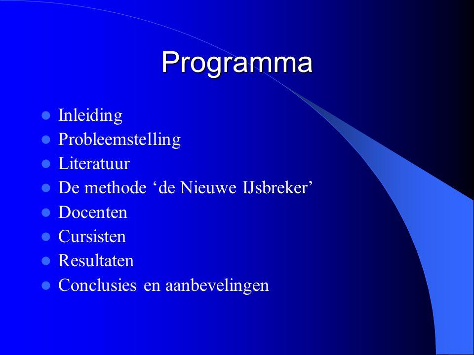 Programma Inleiding Probleemstelling Literatuur De methode 'de Nieuwe IJsbreker' Docenten Cursisten Resultaten Conclusies en aanbevelingen