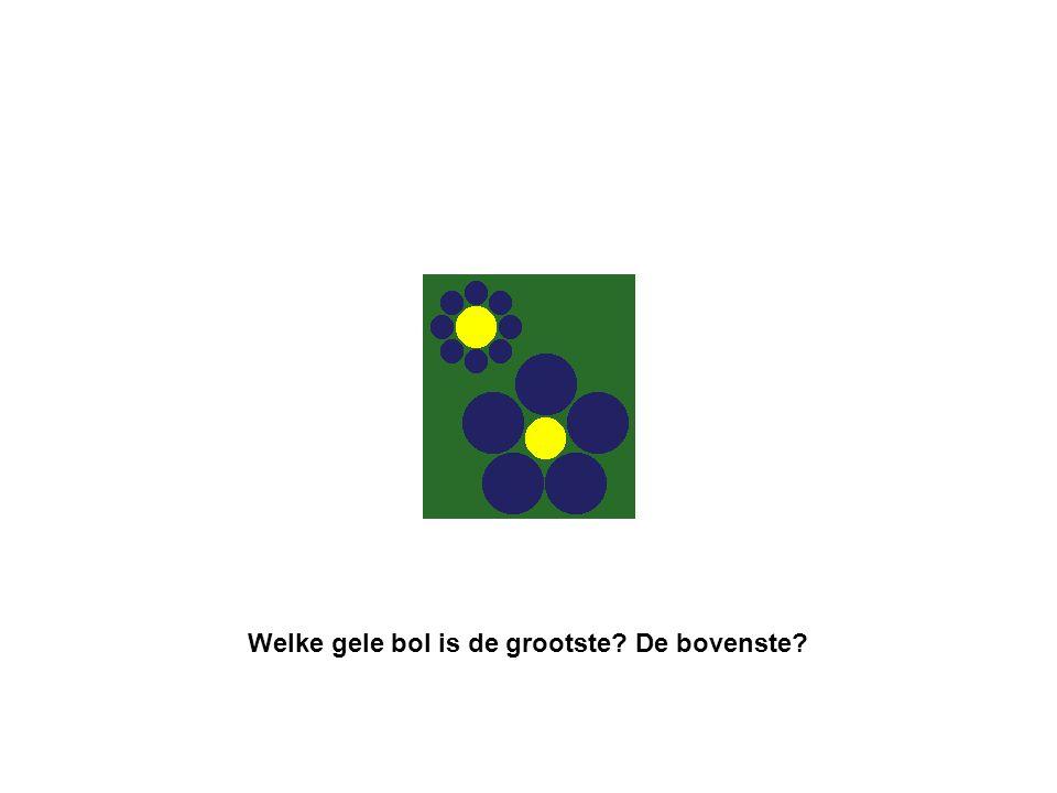 Welke gele bol is de grootste? De bovenste?