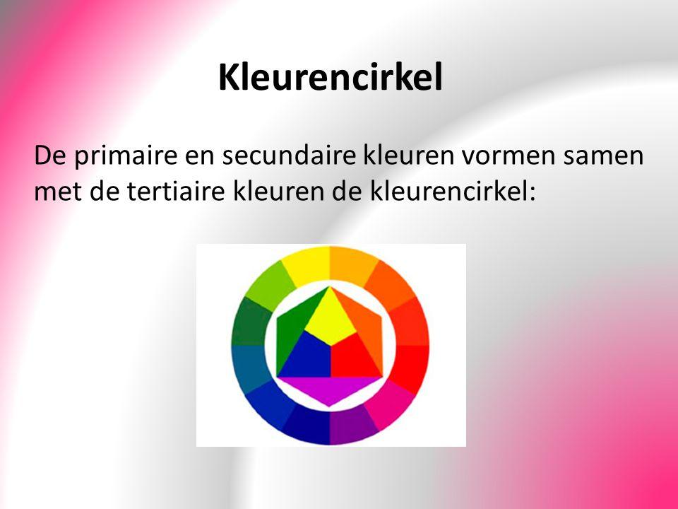 Kleurencirkel De primaire en secundaire kleuren vormen samen met de tertiaire kleuren de kleurencirkel: