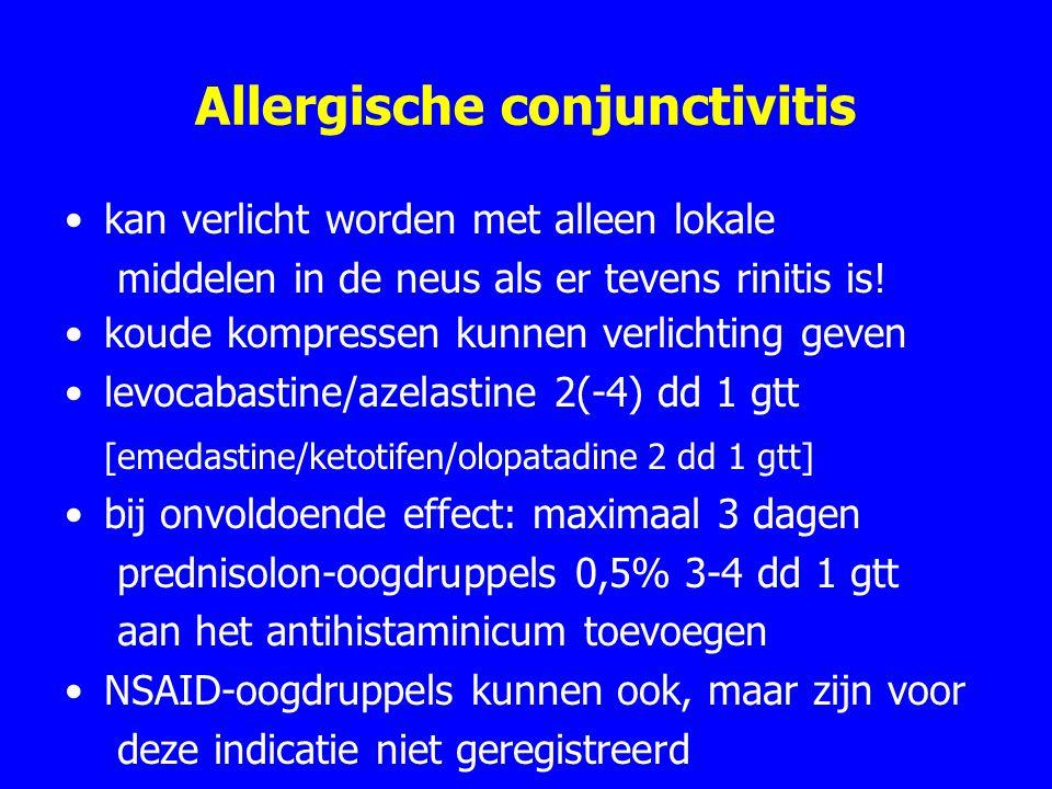 Allergische conjunctivitis kan verlicht worden met alleen lokale middelen in de neus als er tevens rinitis is.