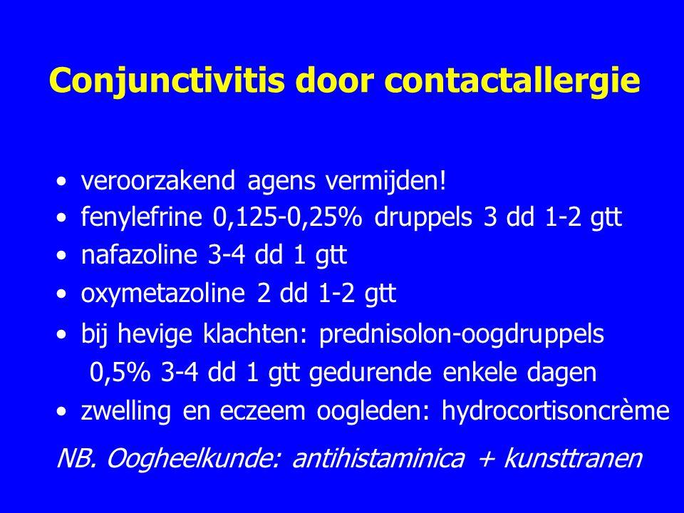 Conjunctivitis door contactallergie veroorzakend agens vermijden.