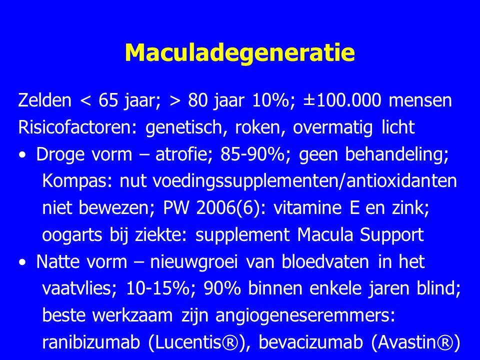 Maculadegeneratie Zelden 80 jaar 10%; ±100.000 mensen Risicofactoren: genetisch, roken, overmatig licht Droge vorm – atrofie; 85-90%; geen behandeling; Kompas: nut voedingssupplementen/antioxidanten niet bewezen; PW 2006(6): vitamine E en zink; oogarts bij ziekte: supplement Macula Support Natte vorm – nieuwgroei van bloedvaten in het vaatvlies; 10-15%; 90% binnen enkele jaren blind; beste werkzaam zijn angiogeneseremmers: ranibizumab (Lucentis®), bevacizumab (Avastin®)