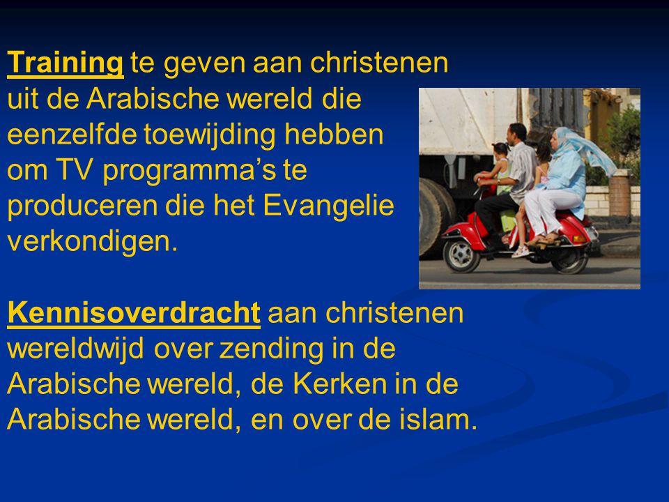 Training te geven aan christenen uit de Arabische wereld die eenzelfde toewijding hebben om TV programma's te produceren die het Evangelie verkondigen.