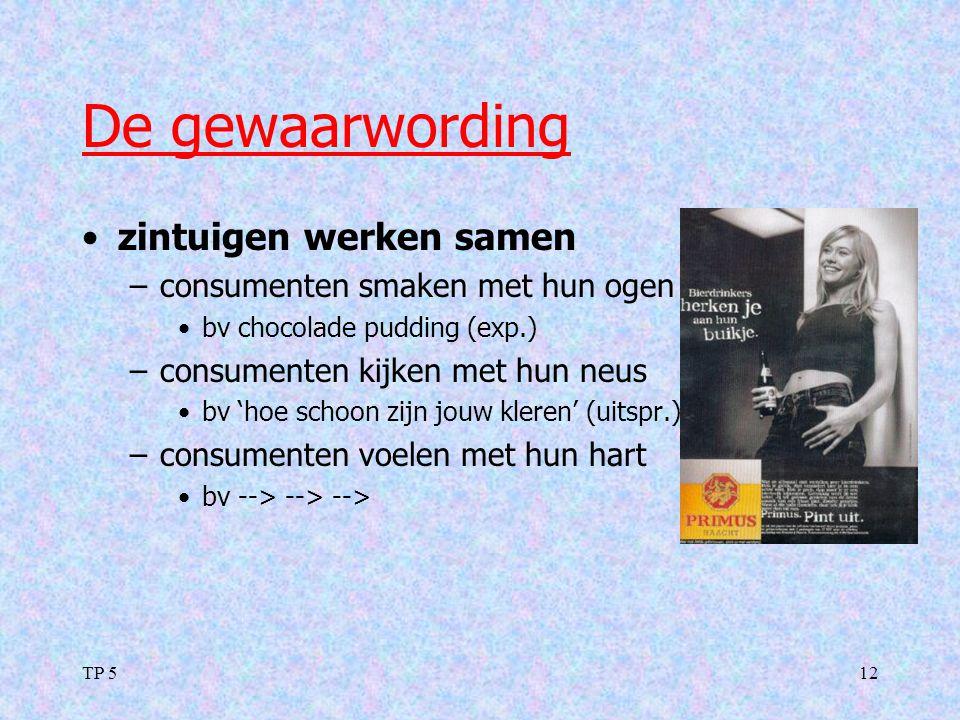 TP 512 De gewaarwording zintuigen werken samen –consumenten smaken met hun ogen bv chocolade pudding (exp.) –consumenten kijken met hun neus bv 'hoe s