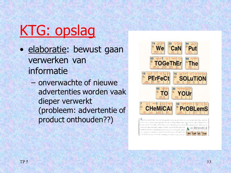 TP 533 KTG: opslag elaboratie: bewust gaan verwerken van informatie –onverwachte of nieuwe advertenties worden vaak dieper verwerkt (probleem: adverte
