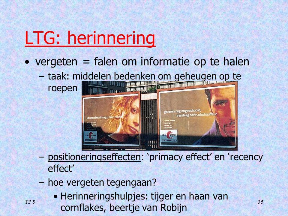 TP 535 LTG: herinnering vergeten = falen om informatie op te halen –taak: middelen bedenken om geheugen op te roepen –positioneringseffecten: 'primacy