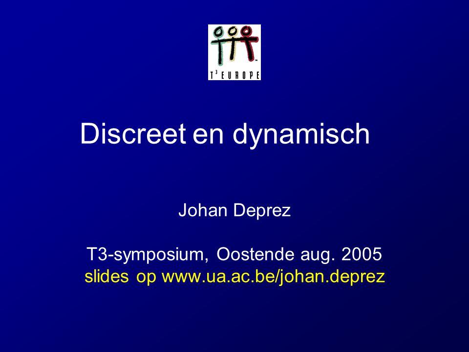 Discreet en dynamisch Johan Deprez T3-symposium, Oostende aug. 2005 slides op www.ua.ac.be/johan.deprez