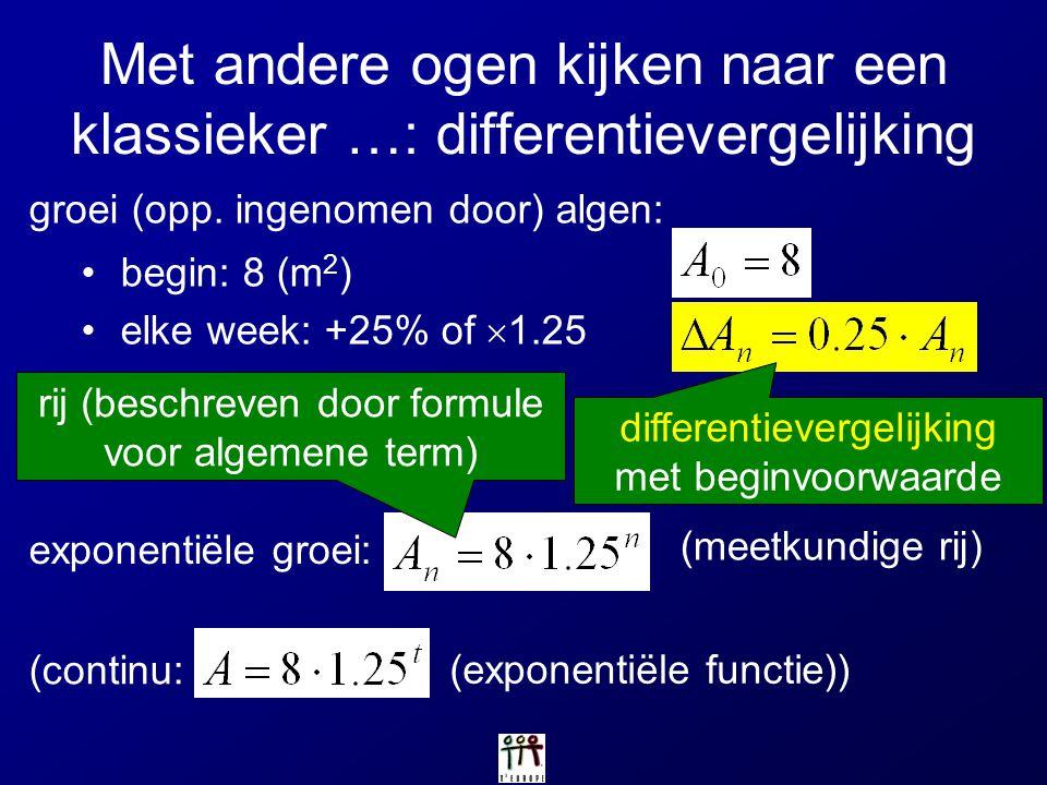 Met andere ogen kijken naar een klassieker …: differentievergelijking groei (opp. ingenomen door) algen: begin: 8 (m 2 ) elke week: +25% of  1.25 exp