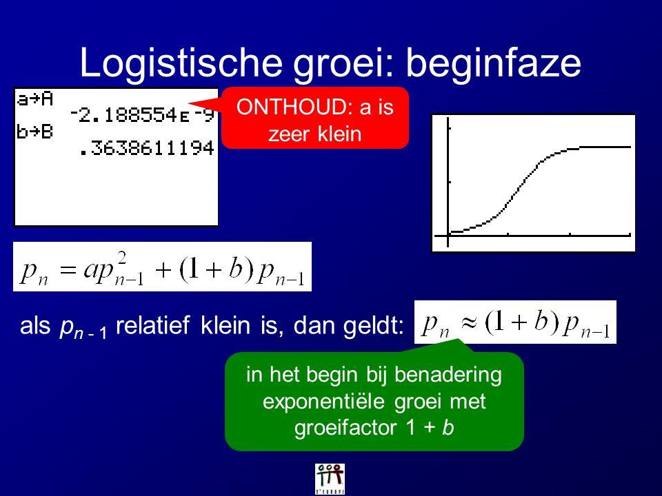 Logistische groei: beginfaze ONTHOUD: a is zeer klein als p n - 1 relatief klein is, dan geldt: in het begin bij benadering exponentiële groei met gro