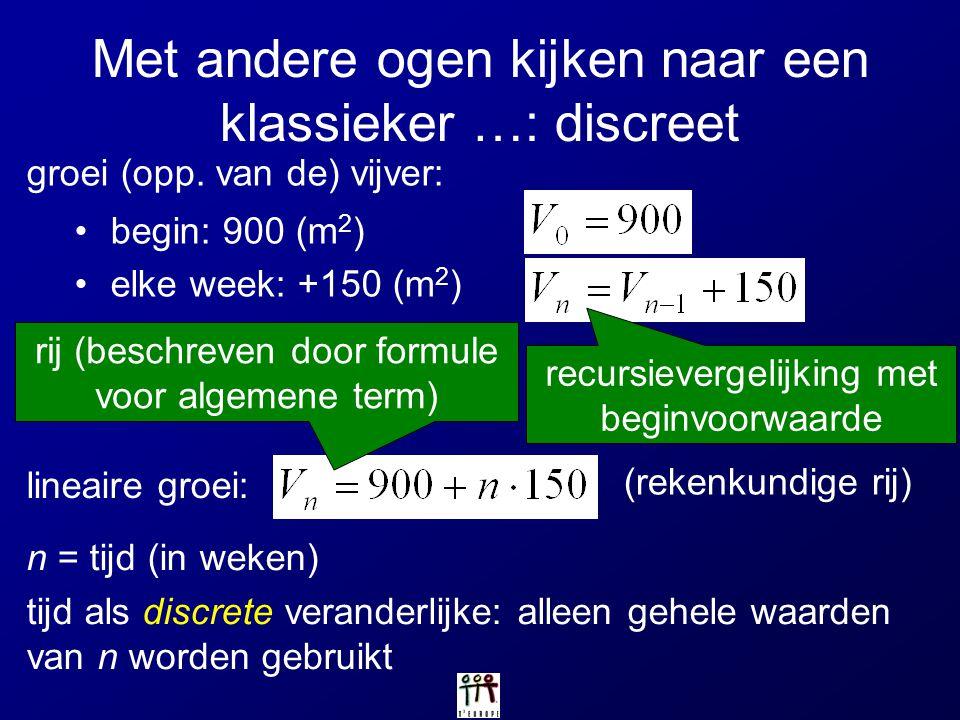 Logistische groei geen expliciet voorschrift bekend (in discrete geval!) verloop onderzoeken: vaststellingen op basis van berekeningen met rekenmachine rechtstreeks afleiden uit de recursievergelijking