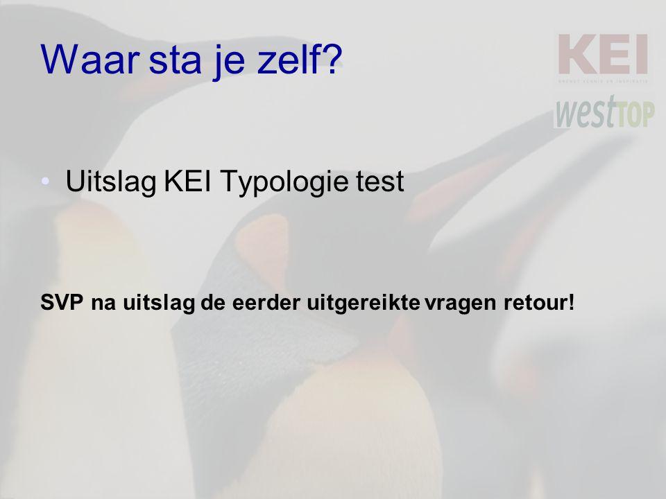 Waar sta je zelf? Uitslag KEI Typologie test SVP na uitslag de eerder uitgereikte vragen retour!