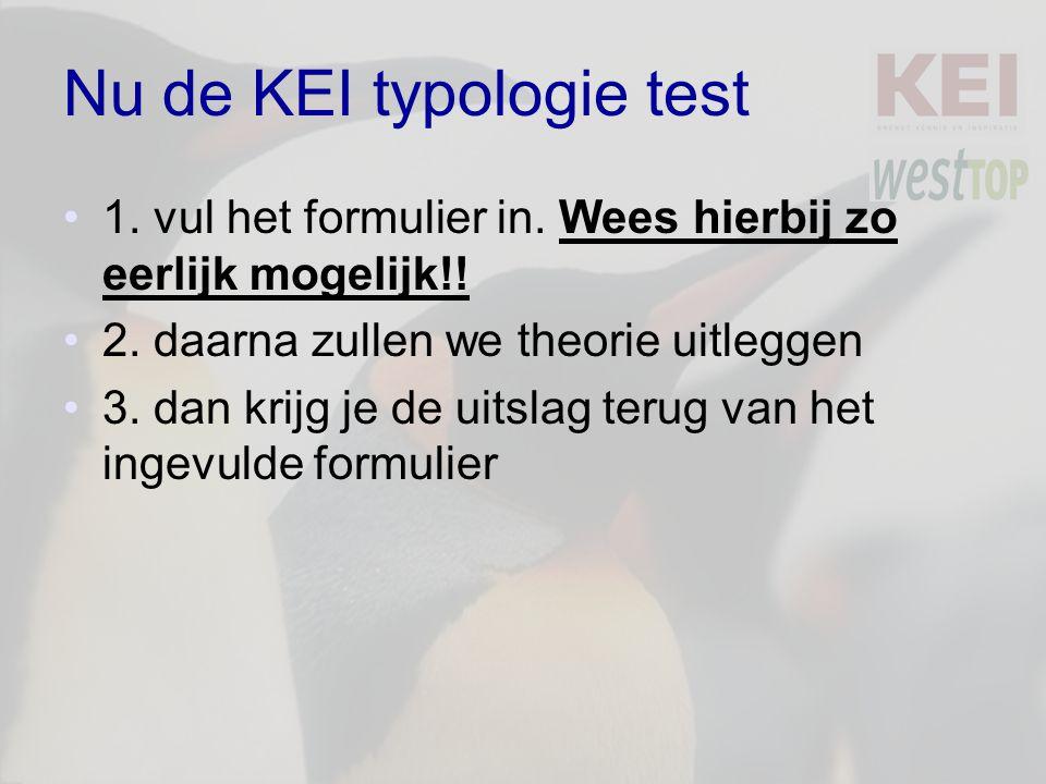 Nu de KEI typologie test 1.vul het formulier in. Wees hierbij zo eerlijk mogelijk!.