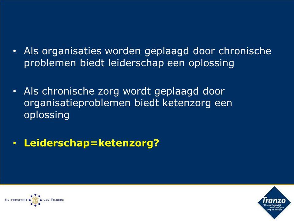 Als organisaties worden geplaagd door chronische problemen biedt leiderschap een oplossing Als chronische zorg wordt geplaagd door organisatieproblemen biedt ketenzorg een oplossing Leiderschap=ketenzorg