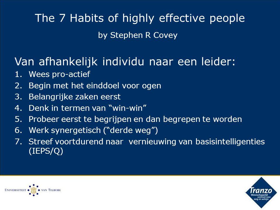 Van afhankelijk individu naar een leider: 1.Wees pro-actief 2.Begin met het einddoel voor ogen 3.Belangrijke zaken eerst 4.Denk in termen van win-win 5.Probeer eerst te begrijpen en dan begrepen te worden 6.Werk synergetisch ( derde weg ) 7.Streef voortdurend naar vernieuwing van basisintelligenties (IEPS/Q) The 7 Habits of highly effective people by Stephen R Covey