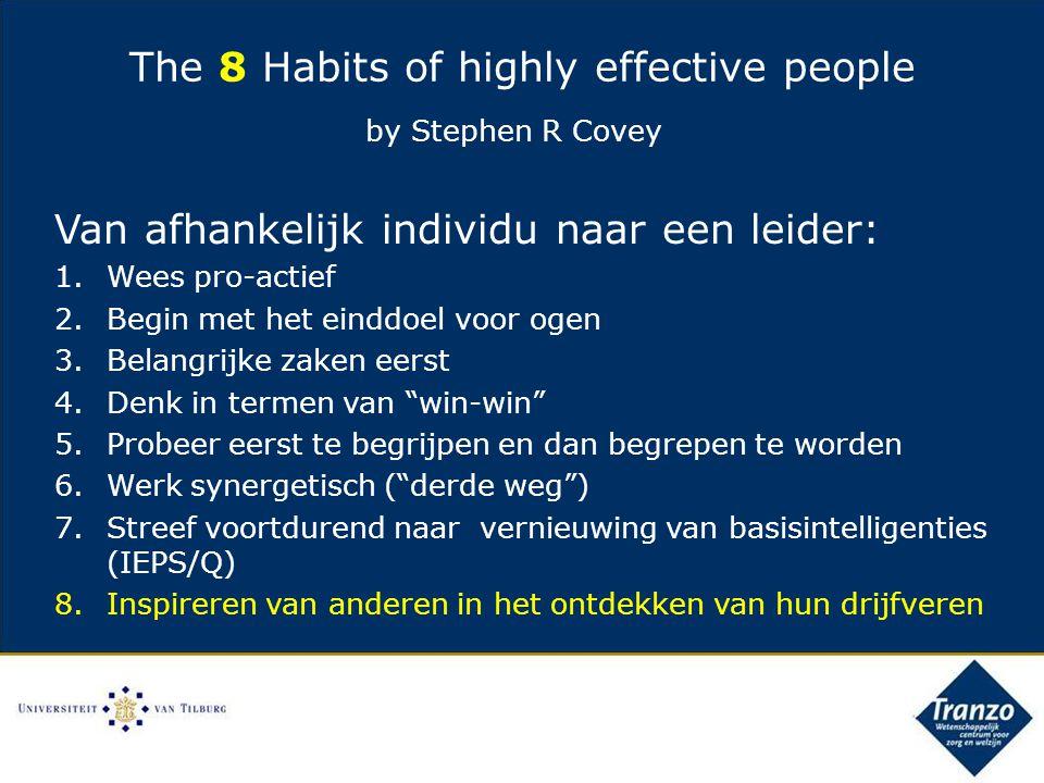 Van afhankelijk individu naar een leider: 1.Wees pro-actief 2.Begin met het einddoel voor ogen 3.Belangrijke zaken eerst 4.Denk in termen van win-win 5.Probeer eerst te begrijpen en dan begrepen te worden 6.Werk synergetisch ( derde weg ) 7.Streef voortdurend naar vernieuwing van basisintelligenties (IEPS/Q) 8.Inspireren van anderen in het ontdekken van hun drijfveren The 8 Habits of highly effective people by Stephen R Covey