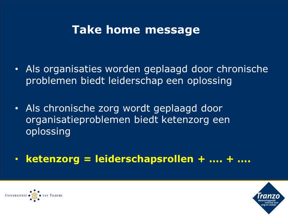 Take home message Als organisaties worden geplaagd door chronische problemen biedt leiderschap een oplossing Als chronische zorg wordt geplaagd door organisatieproblemen biedt ketenzorg een oplossing ketenzorg = leiderschapsrollen + ….