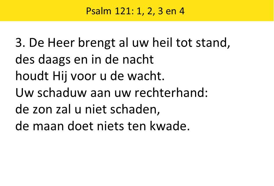 3. De Heer brengt al uw heil tot stand, des daags en in de nacht houdt Hij voor u de wacht. Uw schaduw aan uw rechterhand: de zon zal u niet schaden,