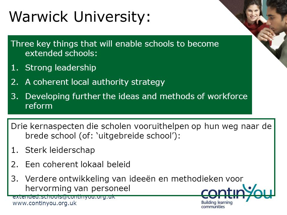 Warwick University: Three key things that will enable schools to become extended schools: 1.Strong leadership 2.A coherent local authority strategy 3.Developing further the ideas and methods of workforce reform Drie kernaspecten die scholen vooruithelpen op hun weg naar de brede school (of: 'uitgebreide school'): 1.Sterk leiderschap 2.Een coherent lokaal beleid 3.Verdere ontwikkeling van ideeën en methodieken voor hervorming van personeel