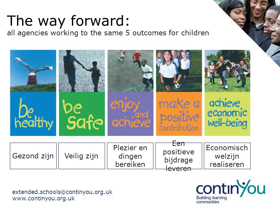extended.schools@continyou.org.uk www.continyou.org.uk Keeping the balance Standards and achievement in school Meeting the needs of the community Enriching the learning of ALL the pupils