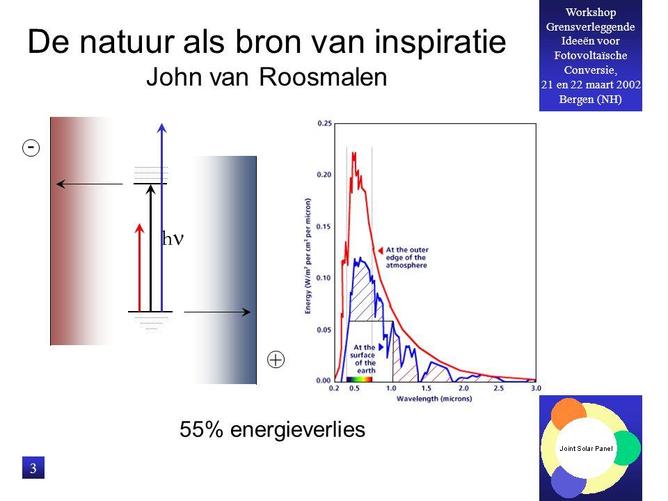Workshop Grensverleggende Ideeën voor Fotovoltaïsche Conversie, 21 en 22 maart 2002 Bergen (NH) 3 De natuur als bron van inspiratie John van Roosmalen 55% energieverlies h - +