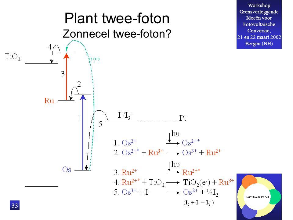 Workshop Grensverleggende Ideeën voor Fotovoltaïsche Conversie, 21 en 22 maart 2002 Bergen (NH) 33 Plant twee-foton Zonnecel twee-foton?