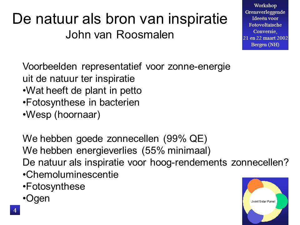 Workshop Grensverleggende Ideeën voor Fotovoltaïsche Conversie, 21 en 22 maart 2002 Bergen (NH) 4 De natuur als bron van inspiratie John van Roosmalen Voorbeelden representatief voor zonne-energie uit de natuur ter inspiratie Wat heeft de plant in petto Fotosynthese in bacterien Wesp (hoornaar) We hebben goede zonnecellen (99% QE) We hebben energieverlies (55% minimaal) De natuur als inspiratie voor hoog-rendements zonnecellen.