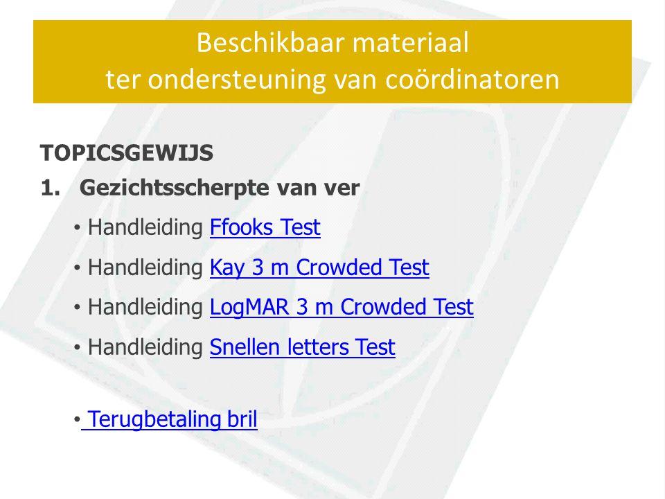 Beschikbaar materiaal ter ondersteuning van coördinatoren TOPICSGEWIJS 1.