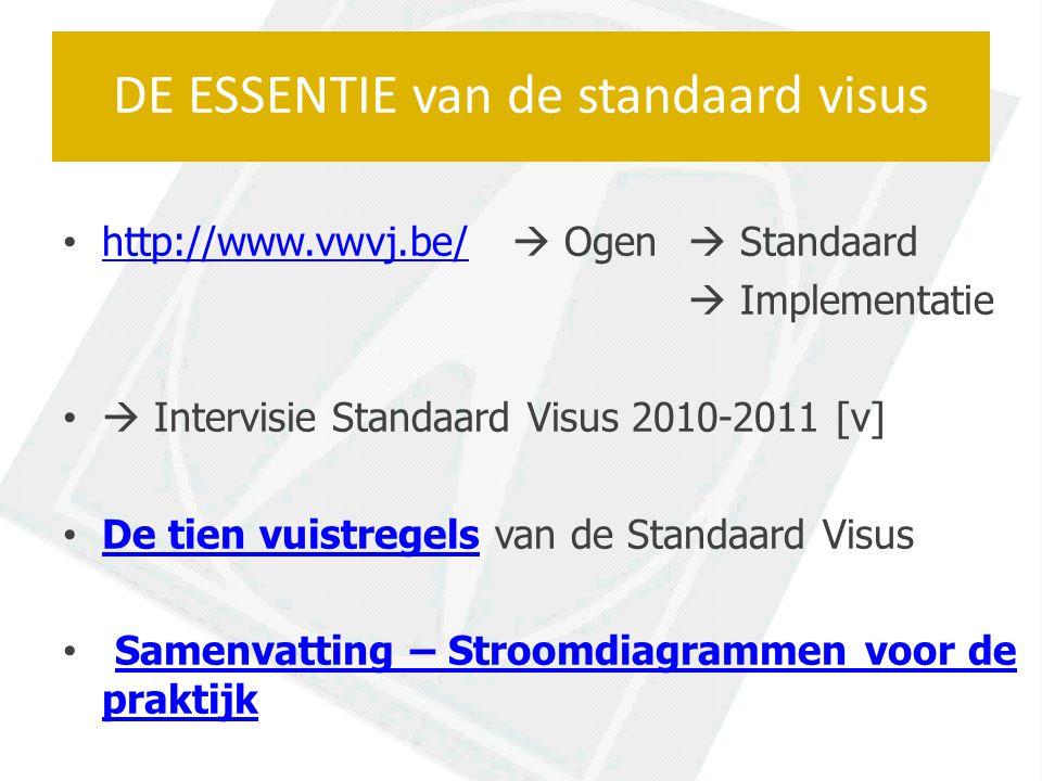 http://www.vwvj.be/  Ogen  Standaard http://www.vwvj.be/  Implementatie  Intervisie Standaard Visus 2010-2011 [v] De tien vuistregels van de Standaard Visus De tien vuistregels Samenvatting – Stroomdiagrammen voor de praktijkSamenvatting – Stroomdiagrammen voor de praktijk DE ESSENTIE van de standaard visus